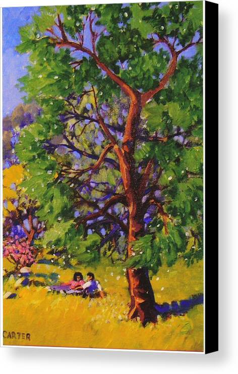 Trees Canvas Print featuring the painting At The Park by Jonathan Carter