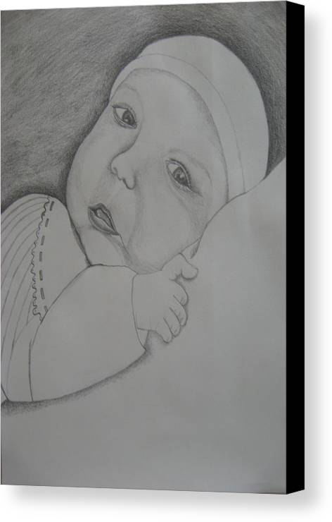 Baby Canvas Print featuring the drawing Baby Girl by Theodora Dimitrijevic