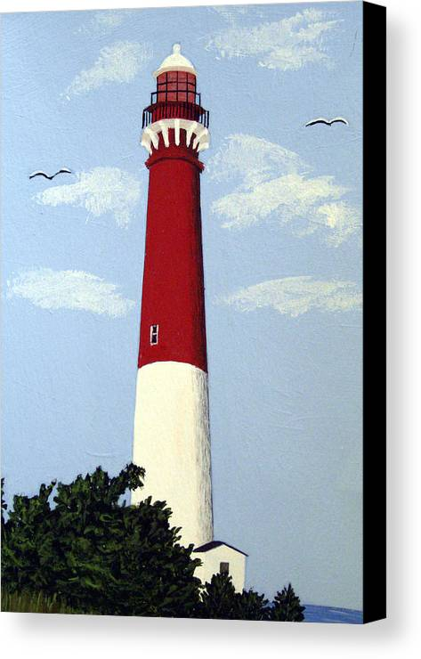 Lighthouse Paintings Canvas Print featuring the painting Barnegat Lighthouse by Frederic Kohli