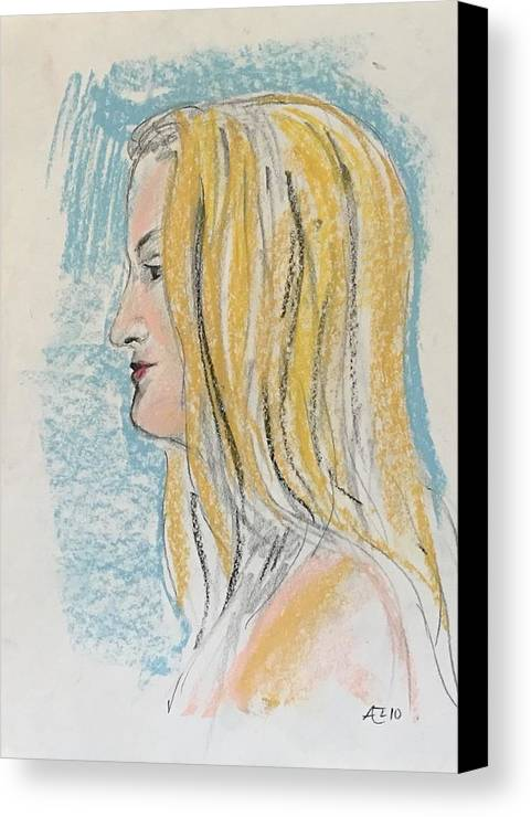 Canvas Print featuring the painting Blonde With Long Hair by Alejandro Lopez-Tasso