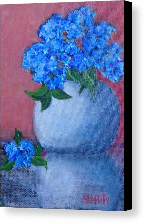 Blue Hydrangea Canvas Print featuring the painting Blue Haze by Annie St Martin