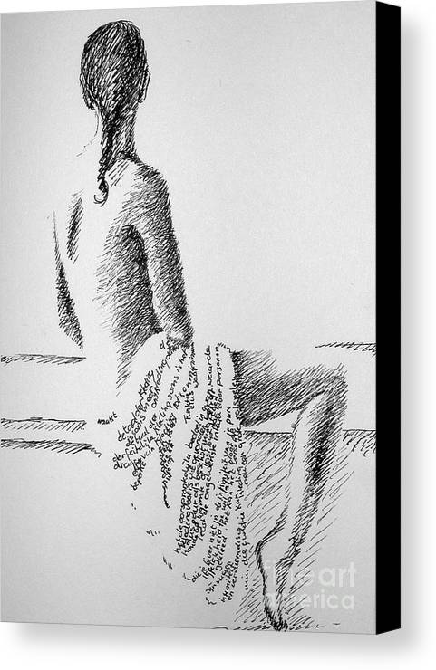 Language Canvas Print featuring the drawing Body Language by Tanni Koens