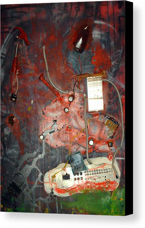 Collage Canvas Print featuring the painting Brain Surgery by Leigh Odom