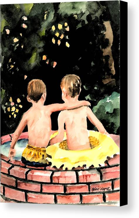 Boys Canvas Print featuring the painting Buddies by Arline Wagner