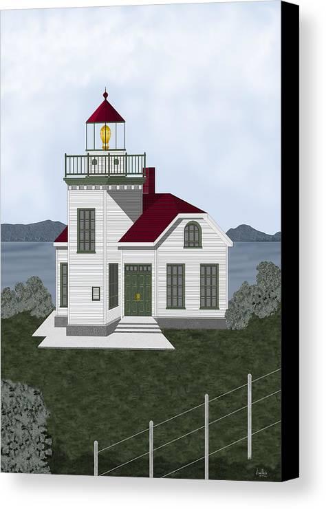 Burrows Island Lighthouse Canvas Print featuring the painting Burrows Island Lighthouse by Anne Norskog