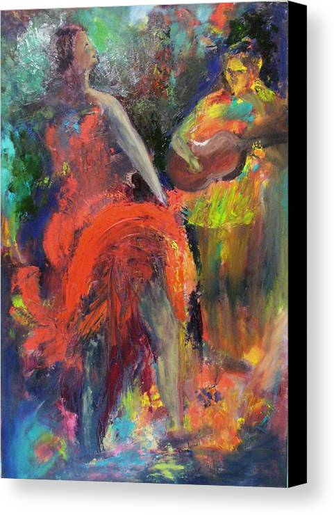 Dancers Canvas Print featuring the painting Cantina Serenade by Keith Thue