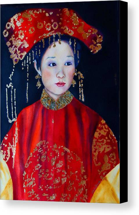 Asian Woman Canvas Print featuring the painting Celebration In Red by Gail Zavala