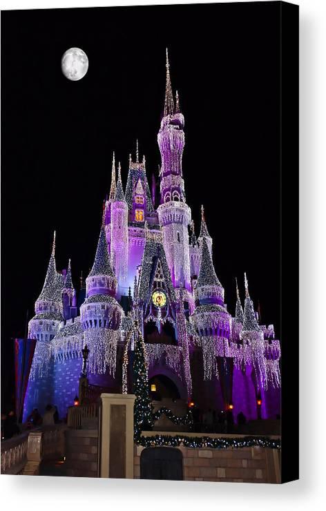 Cinderellas Castle Canvas Print featuring the photograph Cinderellas Castle At Night by Carmen Del Valle