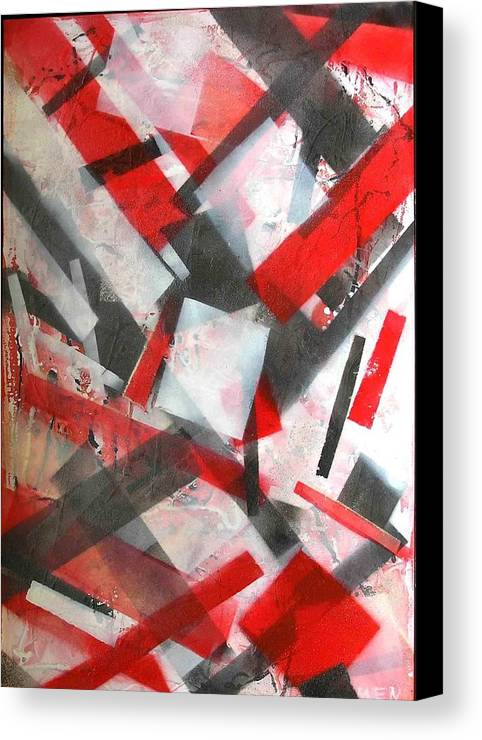 Abstract Canvas Print featuring the painting Construction In Red by Evguenia Men