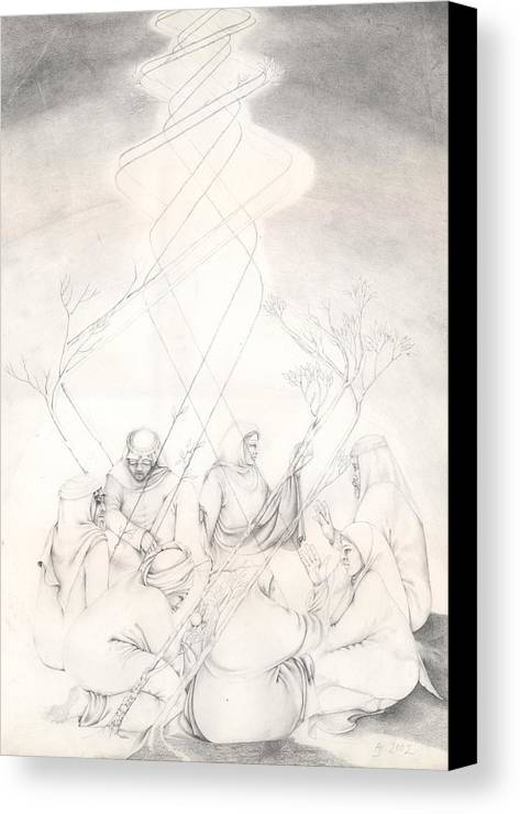 People Canvas Print featuring the drawing Cosmic Conference by Amrei Al-Tobaishi-Jarosch