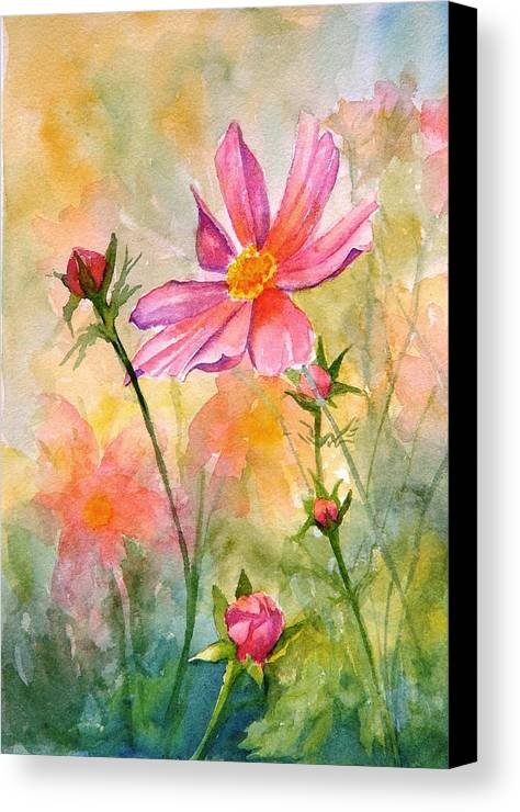 Flower Canvas Print featuring the painting Cosmos by Dorothy Nalls