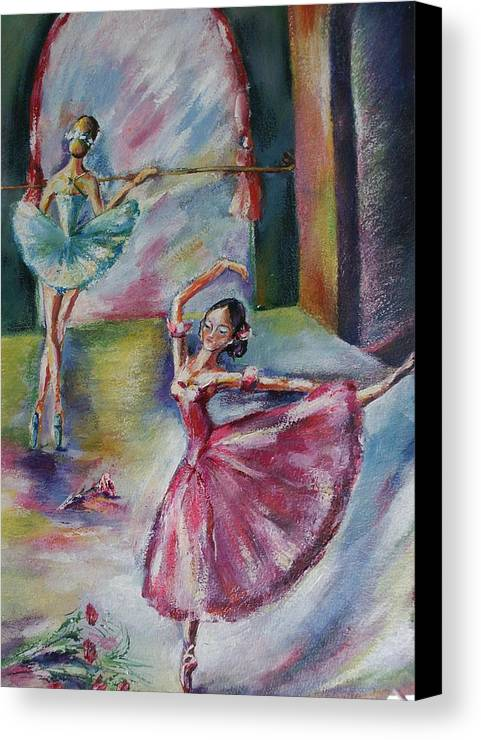 Ballerinas Canvas Print featuring the painting Dancing Ballerinas by Khatuna Buzzell
