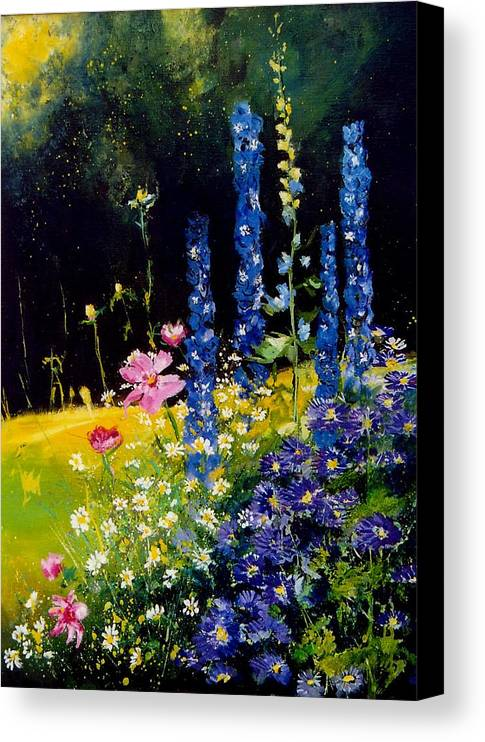 Poppies Canvas Print featuring the painting Delphiniums by Pol Ledent
