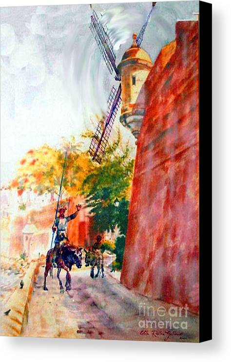 Old San Juan Prints Canvas Print featuring the painting Don Quixote In San Juan by Estela Robles