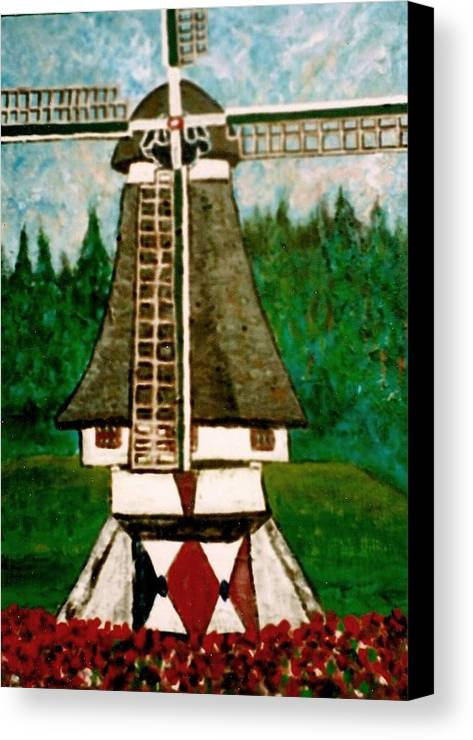 Holland Canvas Print featuring the painting Dutch Windmill by Richard Hubal