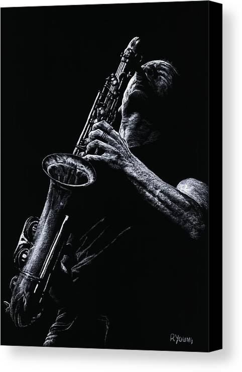 Musician Canvas Print featuring the pastel Eclectic Sax by Richard Young