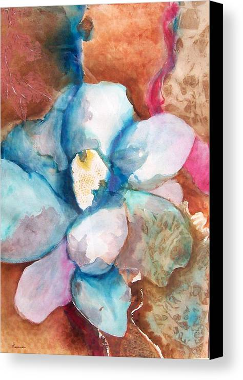 Floral Canvas Print featuring the painting Emerging Flower by Sandy Hemmer