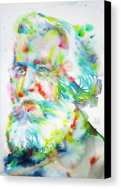 Haeckel Canvas Print featuring the painting Ernst Haeckel - Watercolor Portrait by Fabrizio Cassetta