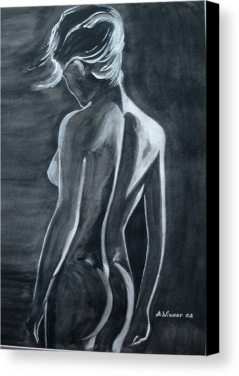 Canvas Print featuring the painting Female Nude Black And Grey by Antje Wieser