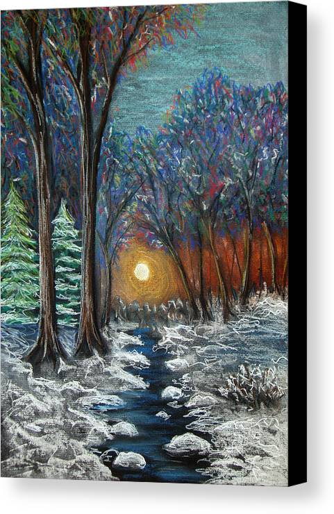 Snow Canvas Print featuring the pastel First Snow by Nancy Mueller