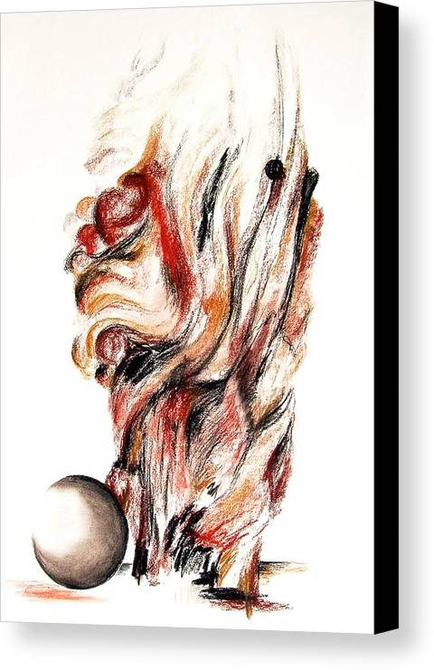 Still Life Canvas Print featuring the drawing Flamme En Bois by Muriel Dolemieux