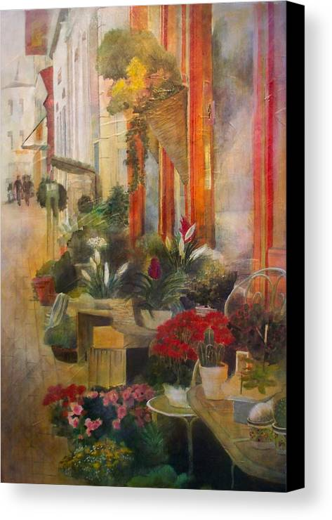 Flowers Canvas Print featuring the painting Fleuriste by Victoria Heryet