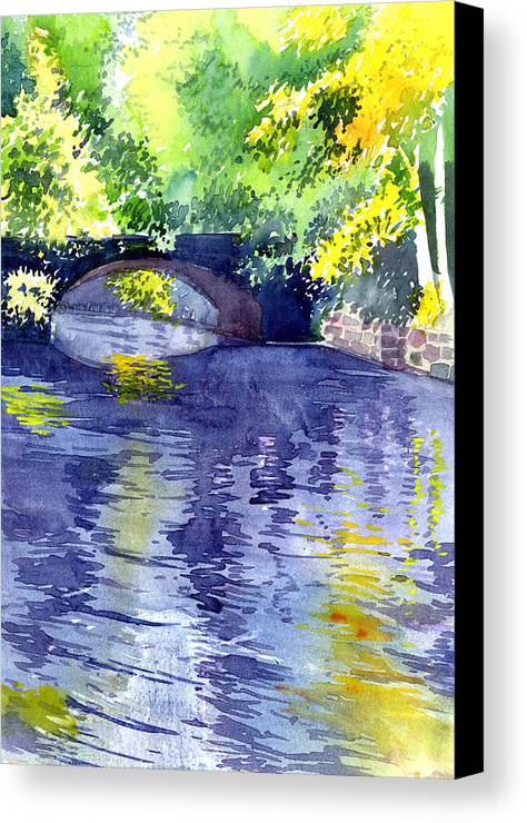 Nature Canvas Print featuring the painting Floods by Anil Nene