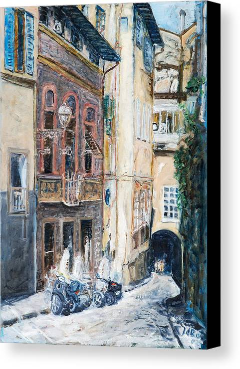 Cityscape Italy Florence Scooters Allyway Canvas Print featuring the painting Florence Archway by Joan De Bot