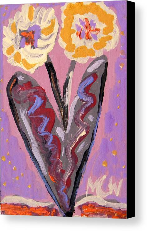 Flowers Canvas Print featuring the painting For Kensington Double Yellow by Mary Carol Williams