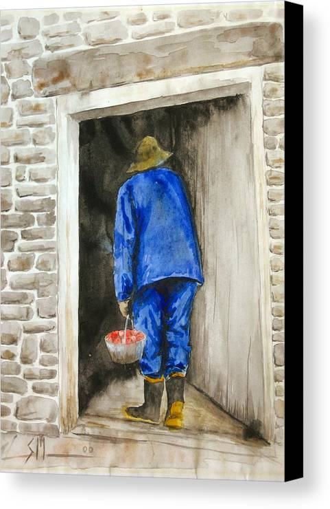 Farmer Canvas Print featuring the painting Fresh Fruit by Scott Manning