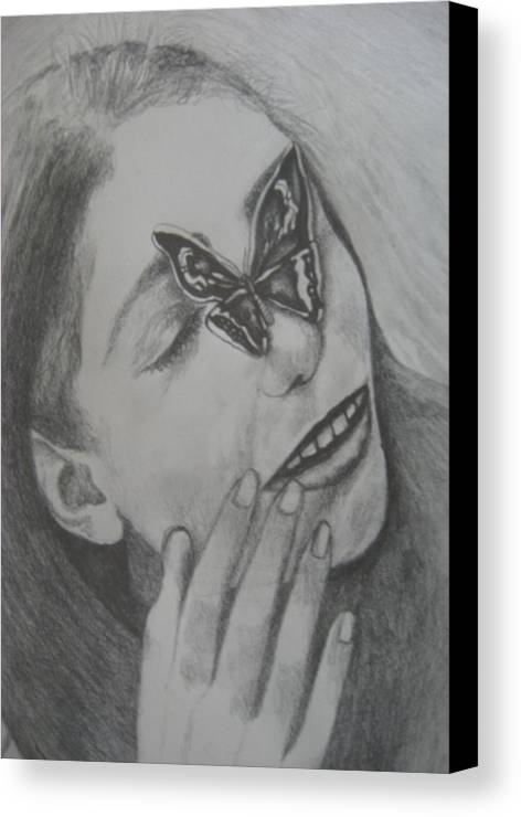 Girl Canvas Print featuring the drawing Girl With Butterfly Close Up by Theodora Dimitrijevic