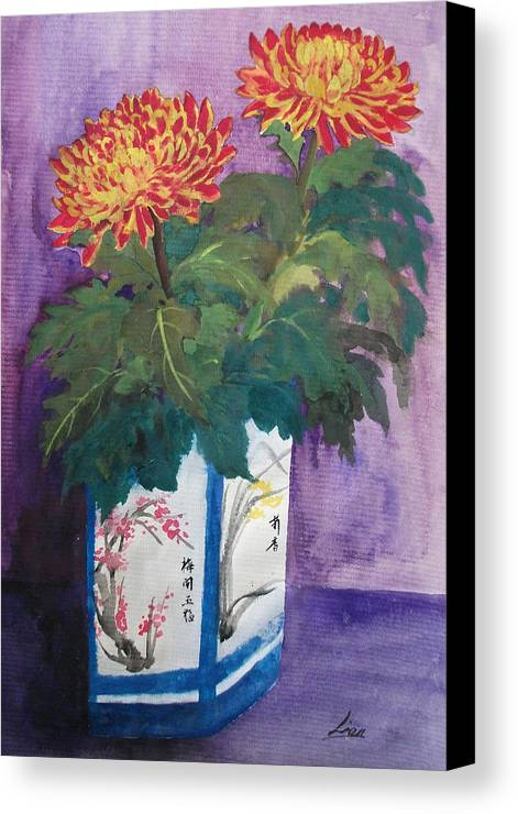 Flowers Canvas Print featuring the painting Golden Wishes by Lian Zhen