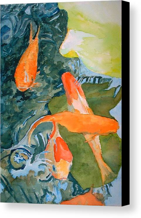 Goldfish Canvas Print featuring the painting Goldface - Watercolor by Donna Hanna