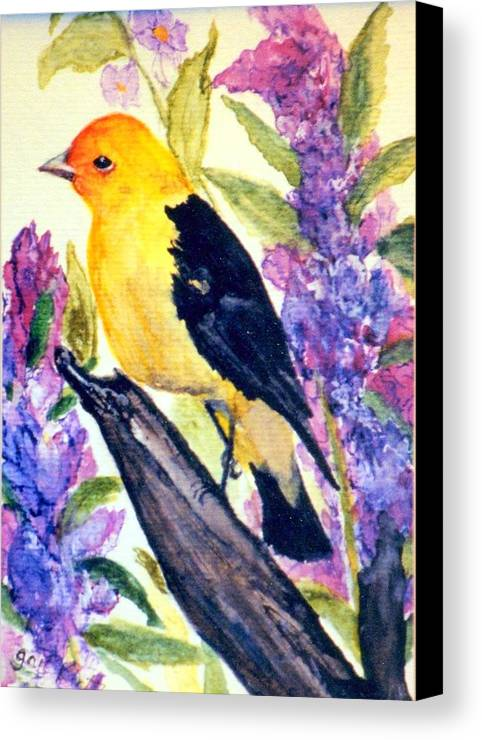 Birds Canvas Print featuring the painting Goldfinch by Gail Kirtz