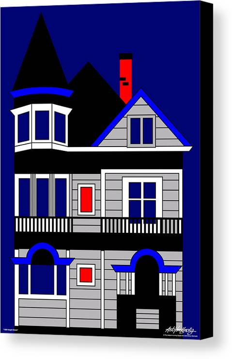 Victorian House Canvas Print featuring the painting Haight Street San Francisco by Asbjorn Lonvig