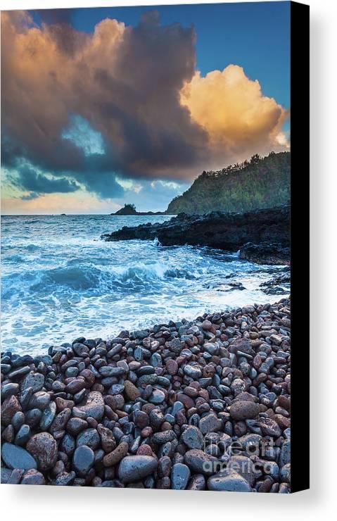 America Canvas Print featuring the photograph Hana Bay Pebble Beach by Inge Johnsson