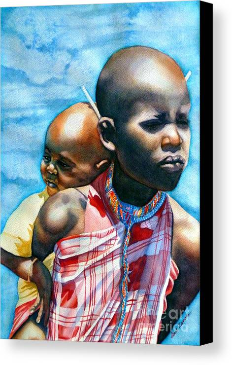 Portrait Canvas Print featuring the painting He Ain't Heavy...he's My Brother by Gail Zavala