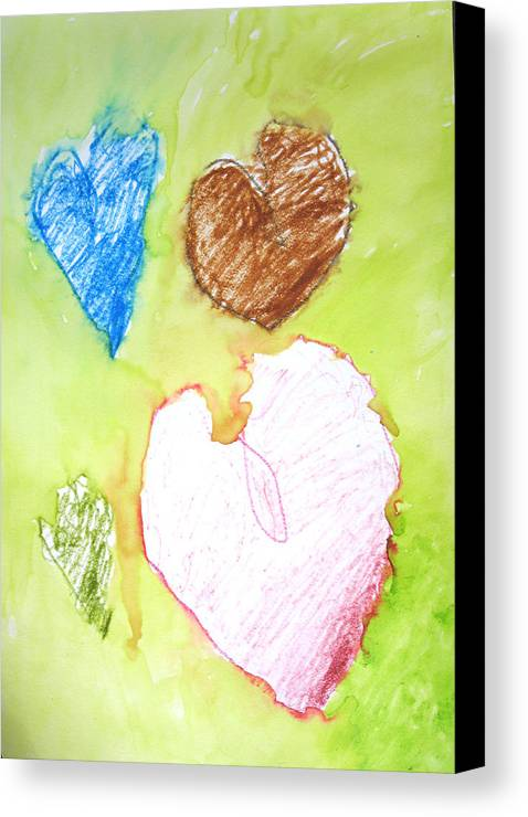 Hearts Canvas Print featuring the mixed media Hearts by Teri Ann Foley