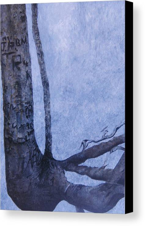 Tree Trunk Canvas Print featuring the painting Hedden Park II by Leah Tomaino