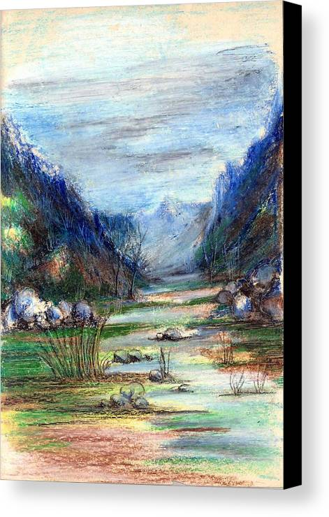 Hills Canvas Print featuring the painting Hills Mountain And A Stream by Padamvir Singh