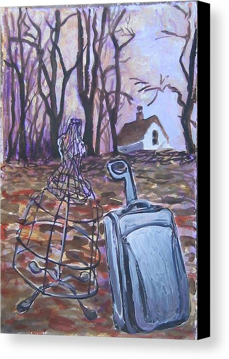 Suitcase Canvas Print featuring the painting Homeward Trek by Tilly Strauss