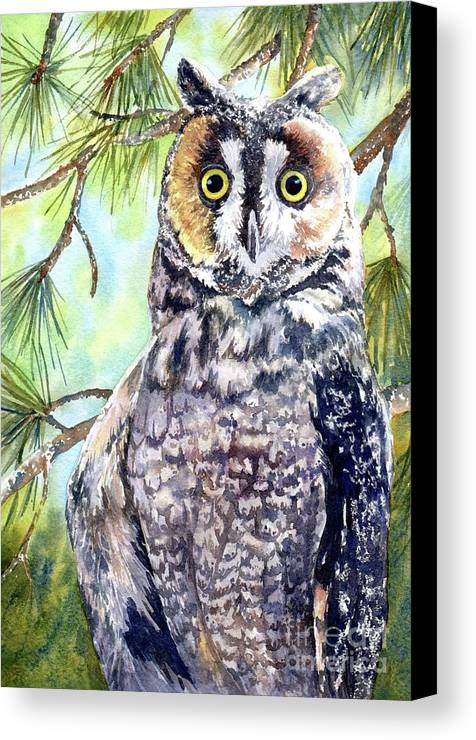 Owl Canvas Print featuring the painting Hoo's There by Lorraine Watry