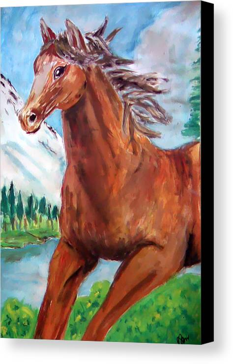 Horse Painting Canvas Print featuring the painting Horse Painting by Bekim Axhami