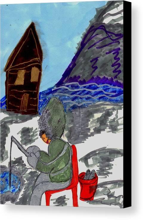Person Ice Fishing Canvas Print featuring the mixed media Ice Fishing by Elinor Helen Rakowski