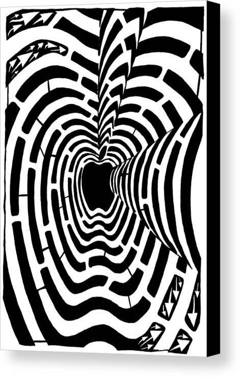 Imaze Canvas Print featuring the drawing iMaze Apple Ad Maze Idea by Yonatan Frimer Maze Artist
