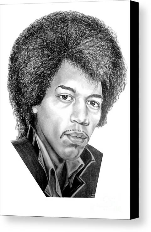 Jimmi Hendrix Canvas Print featuring the drawing Jimmi Hendrix By Murphy Art. Elliott by Murphy Elliott