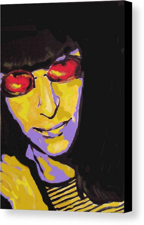Punk Canvas Print featuring the painting Joey Ramone Ramones by Margaret Juul