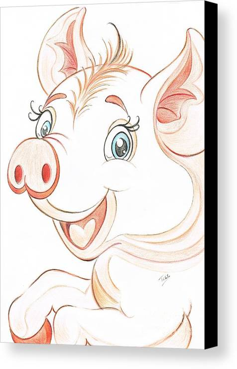 Teresa White Canvas Print featuring the drawing Jolly Miss Piggy by Teresa White