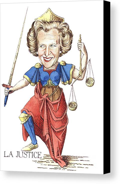 Margaret Thatcher Scales Justice Tarot Caricature Sword Canvas Print featuring the painting La Justice by Debbie Diamond