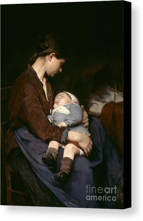 Mother And Child Canvas Print featuring the painting La Mere by Elizabeth Nourse